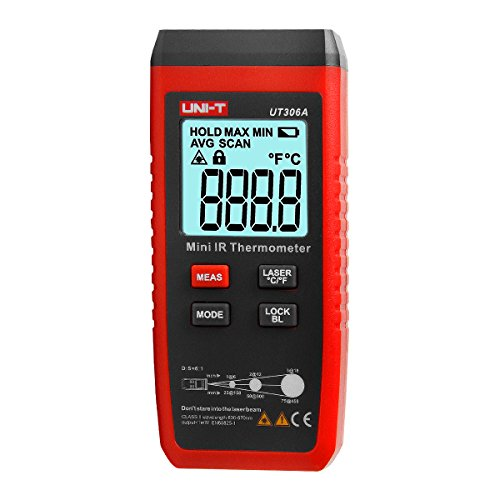 UT306A Mini LCD Termometro a infrarossi -35 ~ 300C -31 ~ 572F Pirometro per misuratore di temperatura laser rosso C / F