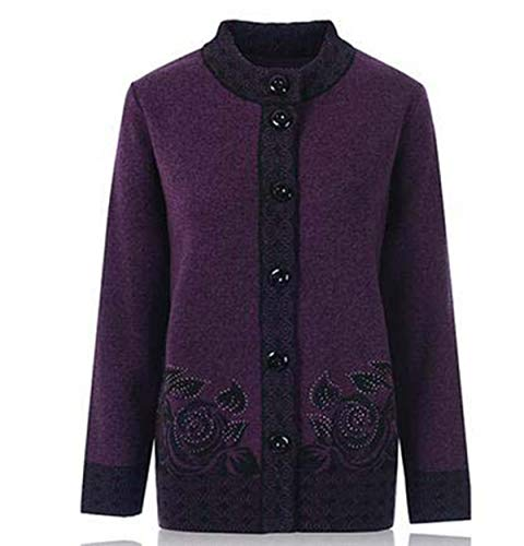 Women Knit Sweater Coats Large Size 6XL 7XL Autumn Single-Breasted Grandmother Loose Cardigan Women Sweater Casual Tops Deep Purple 7XL - Cashmere Deep V-neck Sweater