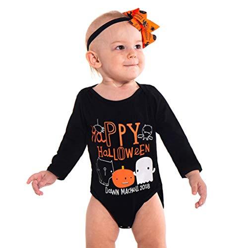 Kinderkleidung Set Rosennie Strampler Outfits Set Halloween Kostüme Säuglingsbaby Mädchen Spielanzug Buchstabe Ausstattungen Baby Jungen Mädchen Overall + Hosen+Stirnbänder Für Party (Schwarz)