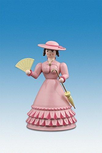 Ellmann Biedermeierfrau in Rosa mit Fächer und Schirm h=12 cm