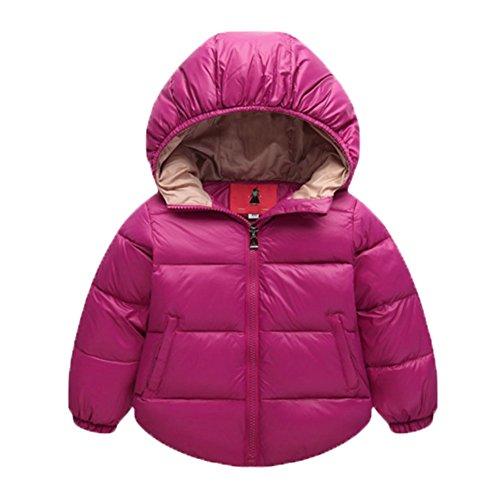 Ohmais Unisex Jungen Mädchen Winter Down Jacket verdickte Winterjacke Jungen Mantel verdickte Trenchcoat Jungen Outerwear mit Kapuzen Rose