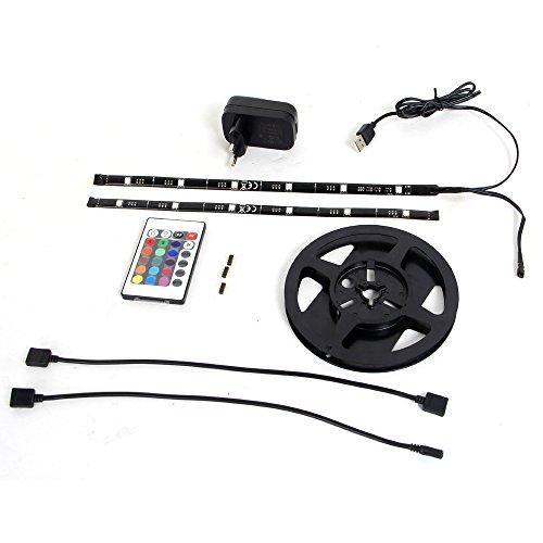 Tira de LED RGB con cable USB para luminación de fondo para TV con 3A adaptador de USB (24-32 pulgadas)