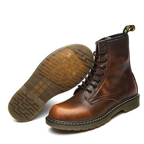 Orktree Unisex-Erwachsene Chelsea Boots Damen Stiefel Wasserdicht Kurz Stiefeletten Schuhe Herren Combat Worker Boots,Braun,44 EU