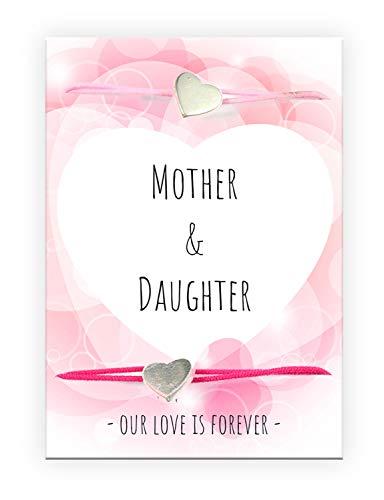 Pracht Creatives Hobby 6014-08285 Dos Pulseras con Colgante de corazón y Tarjeta con Texto a Juego, Ideal como Detalle pequeño, como Agradecimiento o como Regalo para el día de la Madre, Multicolor