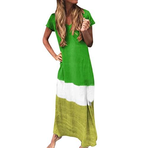 Damen Sommer Langer Rock Strand V-Ausschnitt Krawattengefärbt Splicing Vintage Kleid Kurzarm Maxi Sonnkleid Übergröße, XXXL, grün, 1 -
