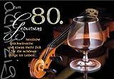 Karte Geburtstag Zahl 80, Silberprägung Cognacglas, 6 Stück