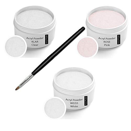 Acryl Pulver Set 3x 30 ml inkl. Arcylpinsel (Pulver- klar 30g, Rosa 30g, weiß 30g)