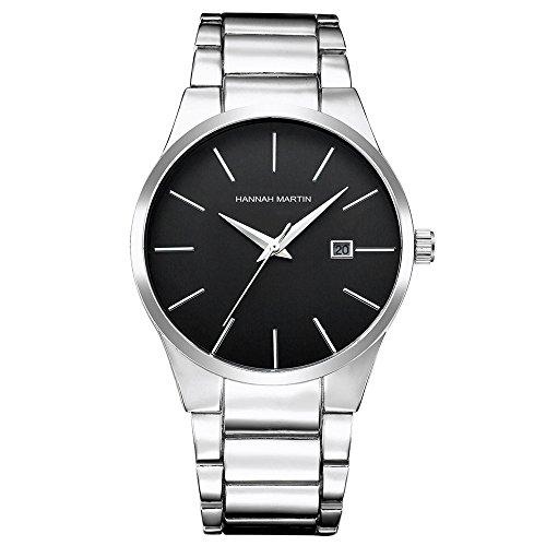 L'ananas-Uhren Herren Uhren,L'ananas Kalender Wasserdicht Anolog Geschäft Quarz Stahlband High-End Armbanduhren mit Geschenkbox Wristwatches (Silber)