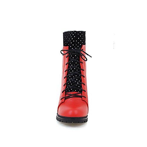 VogueZone009 Damen Rund Zehe Hoher Absatz Niedrig-Spitze Stiefel mit Metalldekoration Rot