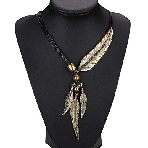 Igemy Legierung Feder Antike Vintage Zeit Halskette Pullover Kette Anhänger Schmuck (Gold) (Pullover Antike)