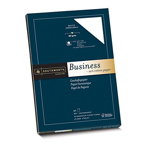 Southworth 90062 Feines Geschäftspapier mit 25% Baumwolle, DIN A4, weiß, mit Wasserzeichen 90g/qm, 80 Blatt im Karton