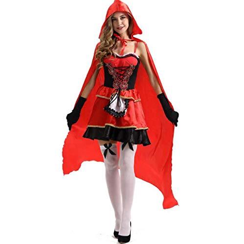 MSSugar Märchen Rotkäppchen Kleid Cosplay Kostüm Mantel Party Kostüm Erwachsene Damen Weihnachten Halloween Karneval Festival,XXL