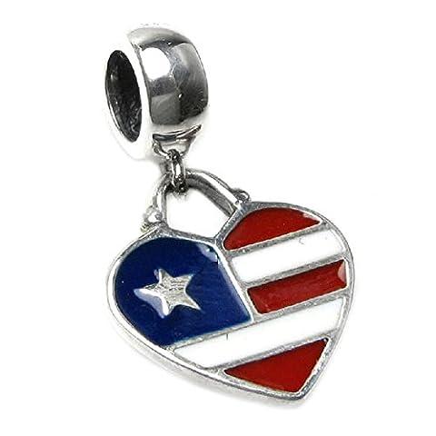 queenberry Charm en forme cœur drapeau USA Charm Perle en émail Style Européen