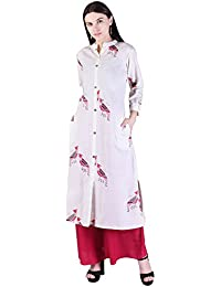 WELORA Cotton Printed Asymmetric V-Neck Roll-up Sleeve Casual & Party Wear Women's Kurti With Palazzo Set
