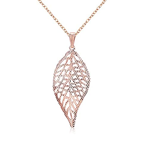 Women's Fashion and Elegant Hallow Out Leaf 18K Gold Zircon Pendant Chain Necklace (18K Rose Gold)