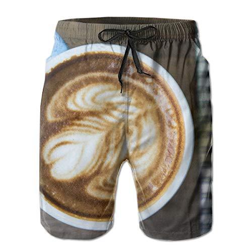 Preisvergleich Produktbild jiger Mens Swim Trunks Summer Cool Quick Dry Board Shorts Bathing Suit, Latte Art In Mug, Beach Shorts Swim Trunks