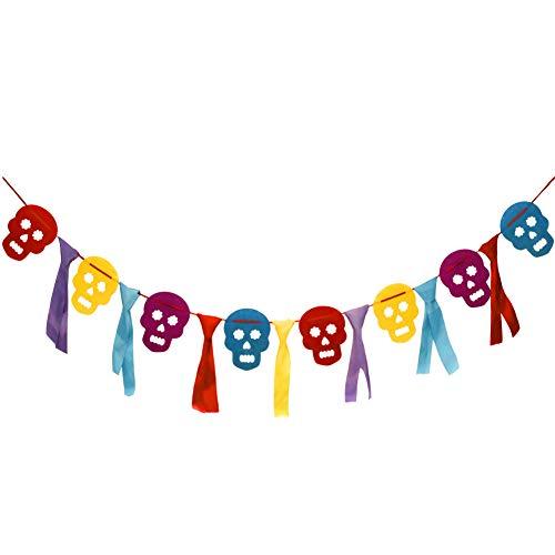 Amytech Día De Los Muertos Decoración Banderines Banderas de Triángulo Skull Multicolor para Decoración Colgante de Fiesta Decoración de Halloween Fiesta Mexicana (Skull)