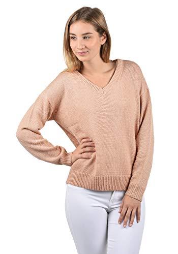VERO MODA Glitta Damen Winter Strickpullover Troyer Grobstrick Pullover mit V-Ausschnitt, Größe:XL, Farbe:Misty Rose -