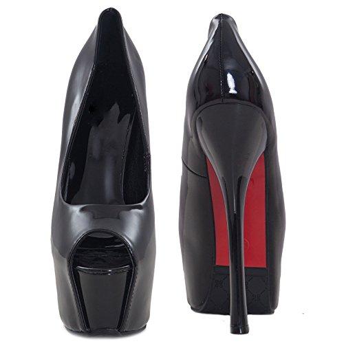 Toocool - Chaussures Pour Femmes Decollet? Bout Ouvert Brillant Brillant Talons Hauts 16 Cm Nouveau K7y2733 Noir