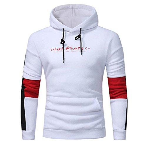 Herren Hoodie Sweatshirt Btruely Herbst Männer Pullover Mode Kapuzenpullover Tasche Lange Ärme Sweatshirt Outwear (XXXL, Weiß)