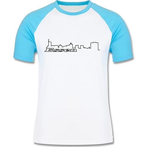Skyline - Essen Skyline - zweifarbiges Baseballshirt für Männer Weiß/Türkis