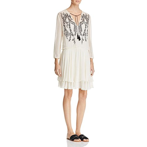 Ella Moss Womens Trellis Vine Embroidered Sheath Casual Dress Ivory XS