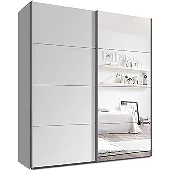 Kleiderschrank weiß mit spiegel  Webesto Schwebetürenschrank, Kleiderschrank, ca. 200 cm, Weiß mit ...