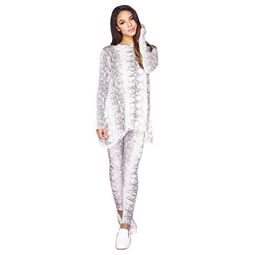 Damen-Shirt mit Bommeln und Leggins im Schlangen-Print, Loungewear, Sportanzug Gr. 36, White - Two Piece Tracksuit Set Celebs Inspired - Candid Top