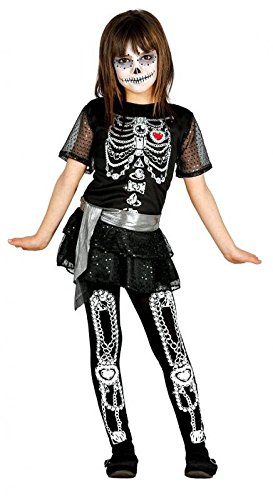 Für Mädchen Halloween Ideen Kostüme (mexikanisches Skelett Mädchen Kostüm für Halloween Skelettkostüm Halloweenkostüm Gr. 110-146,)