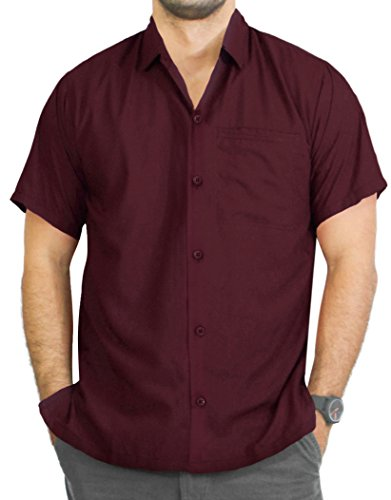 La Leela Strand Hawaiihemd Herren XS - 5XL Kurzarm Front-Tasche Hawaii-Print Casual Button Down Hemd Navy Blau Türkisblau