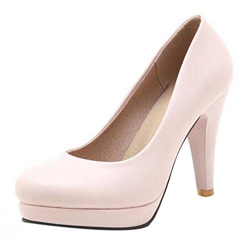 TAOFFEN Femmes Chaussures Élégant Cônique Plateforme Talon Haut Escarpins Rose