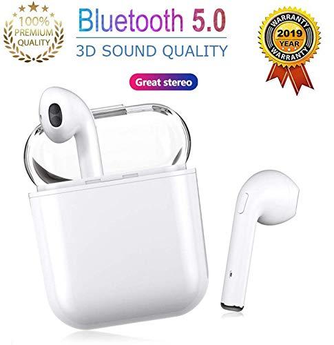 Cuffie bluetooth 5.0, auricolare wireless, microfono e scatola di ricarica incorporati incorporati, riduzione del rumore stereo 3d hd, per cuffie apple airpods android iphone samsung