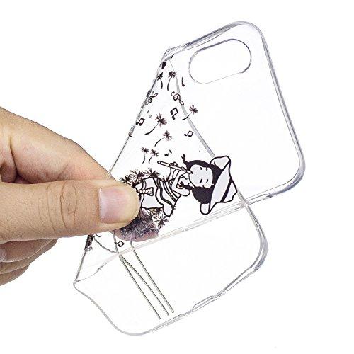 Per iPhone X,Sunrive Custodia Cover Case in molle Trasparente Ultra Sottile TPU silicone Morbida Flessibile Pelle Antigraffio protettiva(tpu fiore) tpu music Girl
