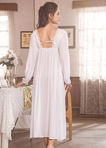 f6c3eae6c2 QLX Retro Palace Sleeping Dress Women Spring   Autumn V Necklace Cotton  Long Sleepwear White Nightdress (L(Height 165-170cm,Weight 58-66kg)