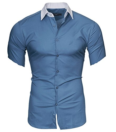 Classic Tailored Blazer (Kayhan Herren Hemd Maimi Kurzarm, Denim Blau (4XL))