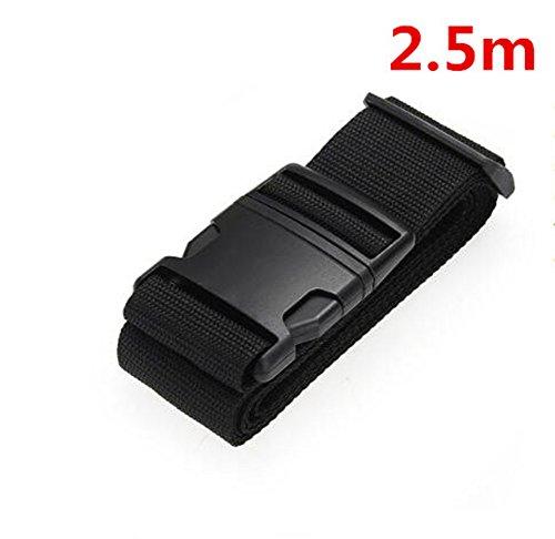 Interesting® 1 PCS correa de la correa del equipaje cinturón cuerda cuerda negra para el bolso de viaje de la maleta 2.5M