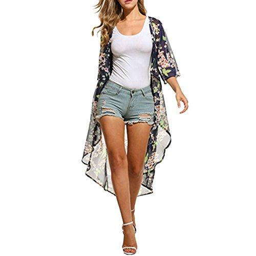 Baijiaye Damen Bademode Bikini Strand Aufdecken Sonnenschutz Urlaub mit Blumen Chiffon Strickjacke (Einheitsgröße) (Anzug Stricken Designer)