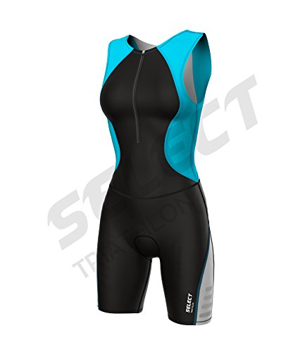 Select Damen Triathlon Anzug Radfahren Running Compression Tri Anzug gepolstert - türkis - xxl