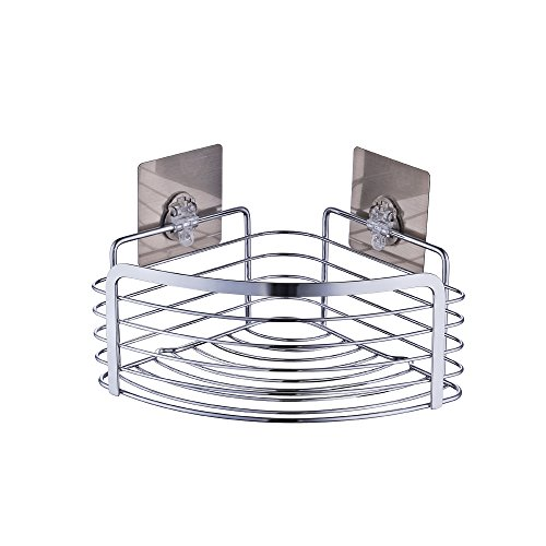 KES Non-trace Sticker Removable Wall Adhesive Bathroom Corner Triangular Tub and Shower Caddy Basket, Polished SUS 304 Stainless Steel, BSC283