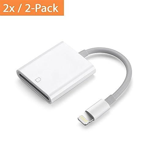 [2er-Pack] PhoneStar lightning zu SD Card Reader Adapter mit Kabel für iPad Air, Air 2, 4, Mini 1 bis 3 und iPhone 7, 7 Plus, 6s, 6s Plus, 5, 5s,