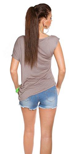 "Trendy KouCla Shirt ""Uncool"" Asymmetrisch Koucla by In-Stylefashion SKU 0000T636101 Dunkelbraun"