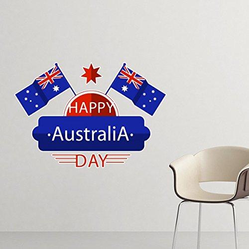 n Flavor Happy Australia Day Flagge und Stern Illustration entfernbarer Wand-Aufkleber-Kunst-Abziehbilder Wand-DIY Tapete für Zimmer Aufkleber 10cm ()