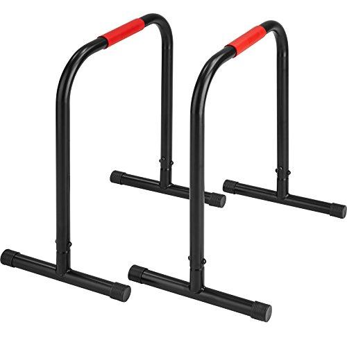 TecTake Paire de barres parallèles station de fitness | Cadre stable en tubes d'acier | adapté pour pompes, extension de la jambe, les trempettes et beaucoup | hauteur: 70cm