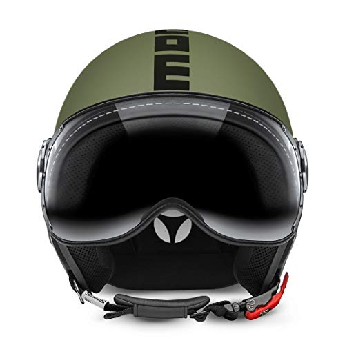 MOMO Design 10010020265 CASCO DEMI JET FIGHTER CLASSIC VERDE OPACO/NERO TG.M/L
