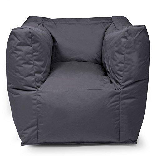 """Outdoor Sitzsack Sessel """"Valley Plus"""" wetterfest frostsicher Hocker Gartenstuhl Gartensessel Gartenliege für draußen Outdoor Lounge Gartenmöbel moderner Look (Anthrazit)"""