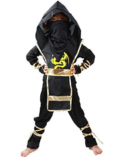 Gold Kostüm Mädchen Ninja Kinder - EMIN Fasching Kinder Ninja Ritterkostüm Japanischer Samurai Attentäter Faschingskostüm Karneval Ninja Kostüm Anzug Verkleidung Kung Fu Kleidung für Jungen und Mädchen Cosplay Kostüm Set Halloween