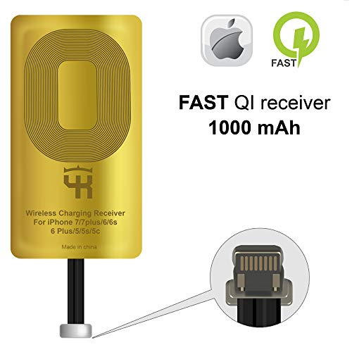 Qi Empfänger für iPhone 5- 5c- SE- 6- 6 Plus- 7- 7 Plus - iPad - iPhone QI Wireless Empfänger - Charging Empfänger - iPhone Wireless Charging Empfänger - QI Wireless Charging Adapter
