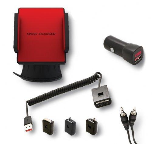 SWISS CHARGER SCA30001 Kit de Chargeur Micro USB/Mini USB pour Smartphone Noir/Rouge