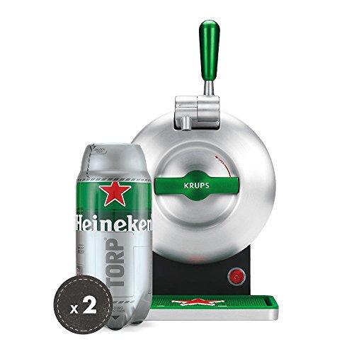 Heineken Fassbier-Set THE SUB   THE SUB Heineken Edition Bierzapfanlage für Zuhause   2 x Heineken TORP 2 Liter Bierfass … (Grey)