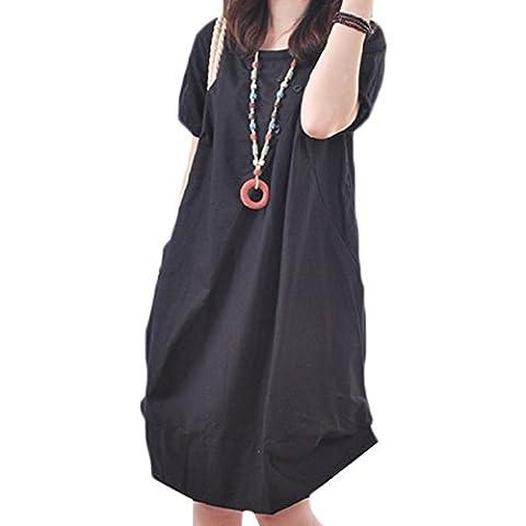 Scothen Mode féminine à manches courtes de lin coton vintage